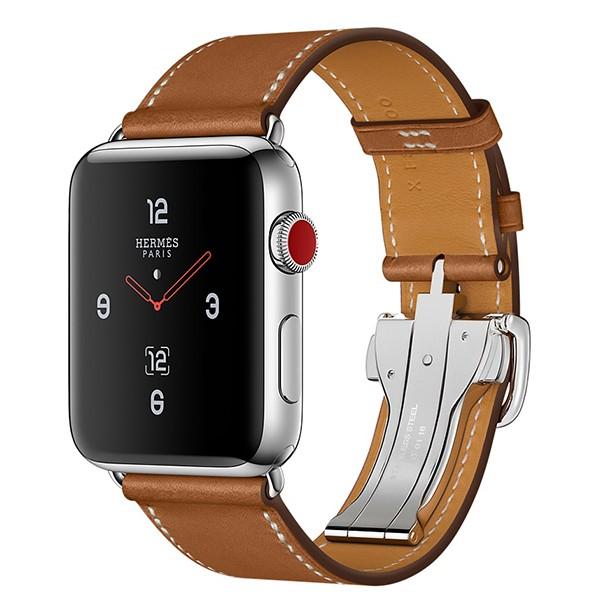 ساعت اپل Hermès Stainless Steel Case with Fauve Barenia Leather Single Tour