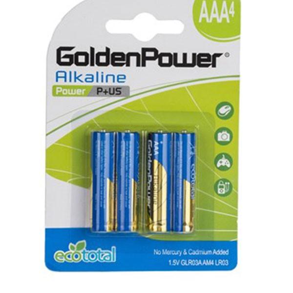 باتری نیم قلمی گلدن پاور Alkaline Power P Plus US AAA