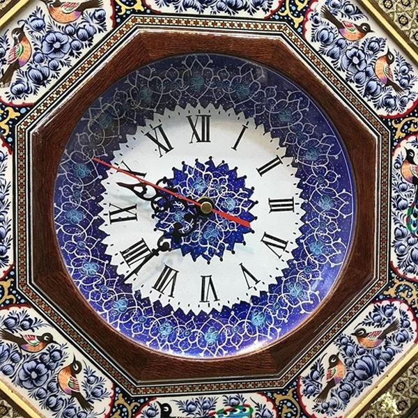ساعت با نقش گل و مرغ برند نقش نگار اصفهان