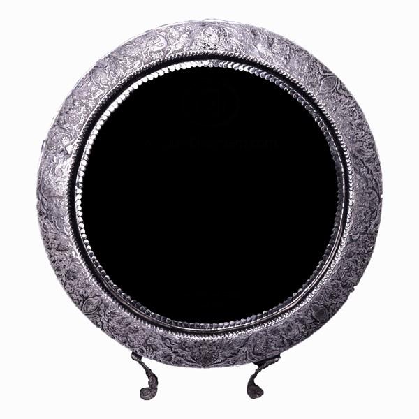 آینه نقره گرد قلمزنی اهتمام S151010597