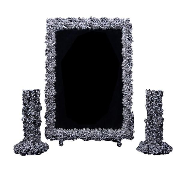 آینه و شمعدان گل رز نقره اهتمام 71069