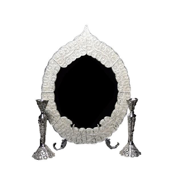 آینه و شمعدان ملیله نقره اهتمام 72009