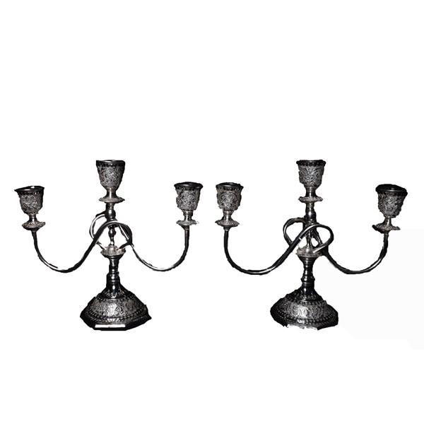 شمعدان سه شاخه نقره قلمزنی اهتمام S151510448