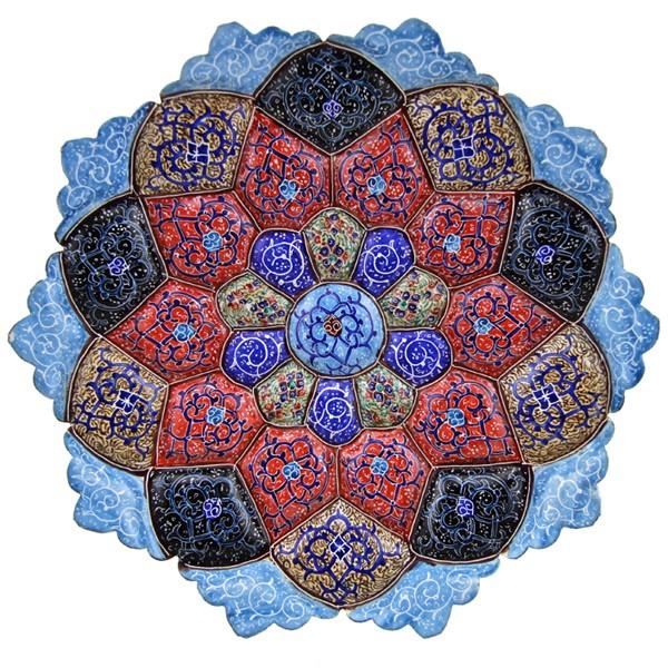 بشقاب مینا 20 سانت طرح چند رنگ برند اصفهان خاتم