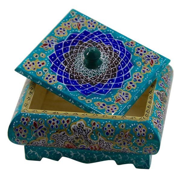 جعبه درب دار تذهیب میناکاری برند اصفهان خاتم