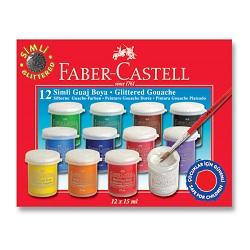 گواش اکلیلی ظروف پلاستیکی 15 میل 12 رنگ فابر کاستل