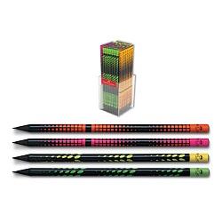 مداد سیاه بلک وود بدنه طرح دار جعبه پلکسی 144 عددی فابر کاستل