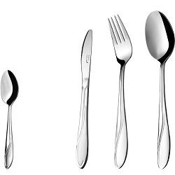 سرویس قاشق و چنگال 24 پارچه غذاخوری سلیا نقره ای ناب استیل  Celia