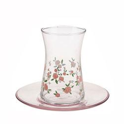 استکان و نعلبکی گل رز صورتی پاشا باغچه 95483