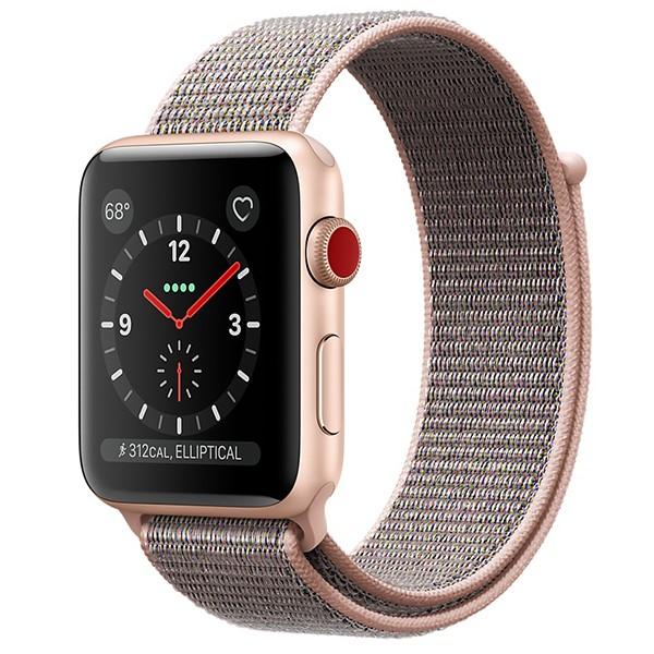 ساعت اپل Gold 42mm GPS+Cellular Aluminum Case with Pink Sand Sport Loop