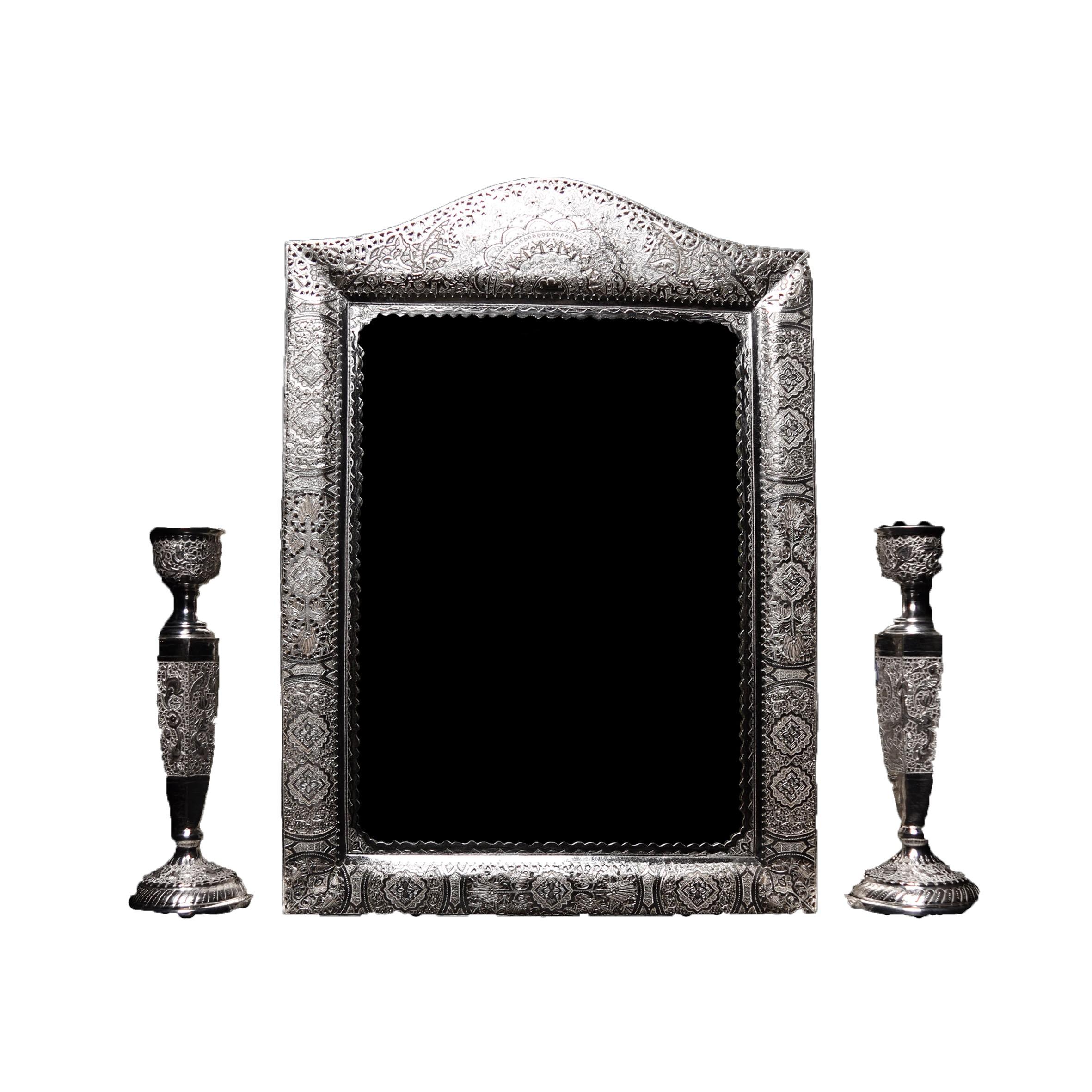 آینه شمعدان قلمزنی نقره اهتمام S151010361