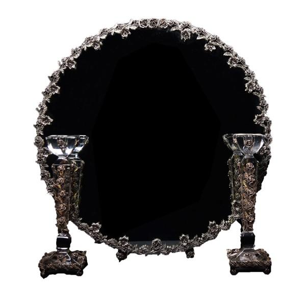 آینه شمعدان گلرز کریستال نقره اهتمام 11024