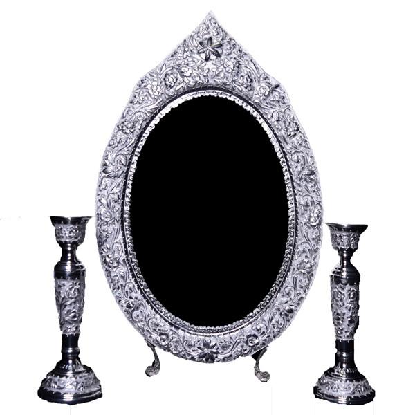 آینه شمعدان نقره برجسته اهتمام S171010471