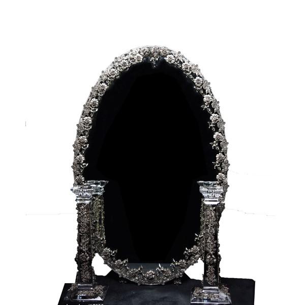 آینه شمعدان نقره بیضی گلرز اهتمام 11018