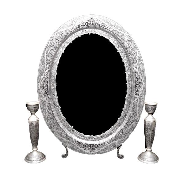 آینه شمعدان نقره بیضی سیاه قلم اهتمام S211510547A