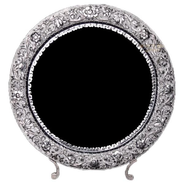 آینه گرد نقره قلم برجسته اهتمام S171010593