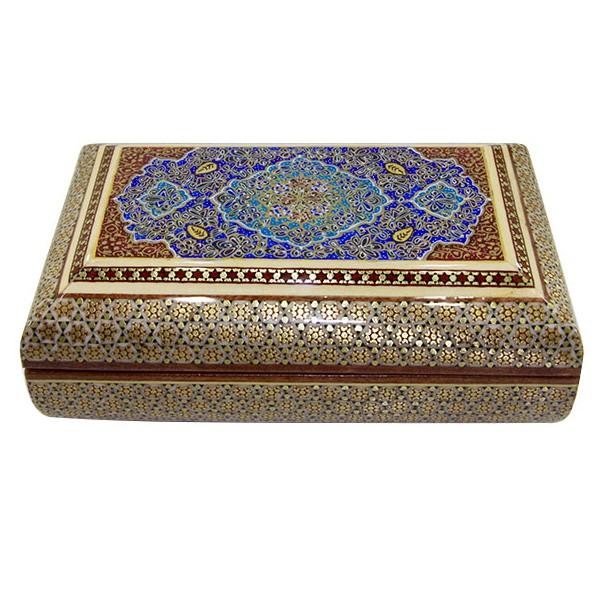 جعبه شیشی تذهیب اعلاء برند اصفهان خاتم