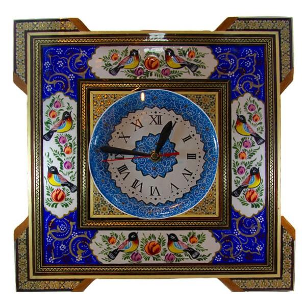 ساعت 15×15خاتم با طرح گل و مرغ برند اصفهان خاتم