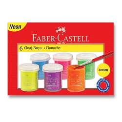 گواش فلورسنت ظروف پلاستیکی 15 میل 6 رنگ فابر کاستل