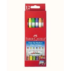 ماژیک دوسر رنگ آمیزی 12 رنگ فابر کاستل Twin Tip