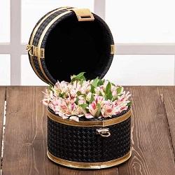 صندوقچه مروارید سیاه با گل آلسترومریا