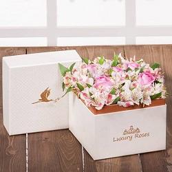 جعبه گل ژیوا ترکیبی از آلسترومریا و رز هلندی