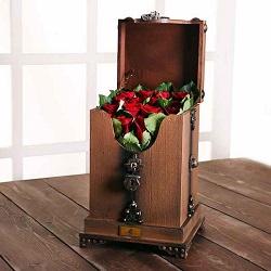 صندوقچه پرچین لیان 16 شاخه گل رز هلندی فوق ممتاز قرمز